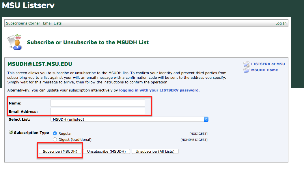 Screenshot of subscription page with fields highlighted