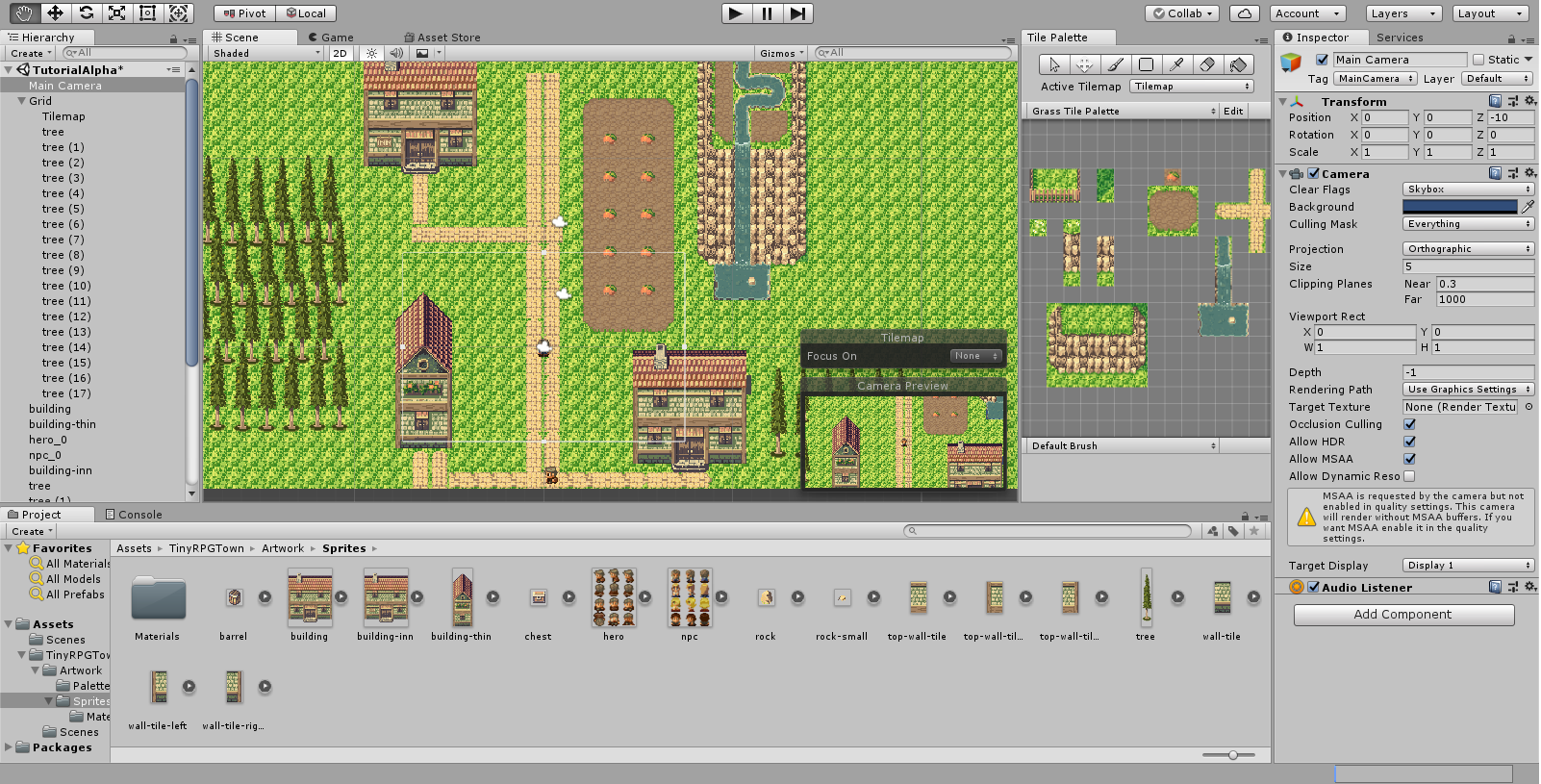 Screenshot of Unity software backend for game with display of landscape in center and building control options around the left, bottom, and right sides