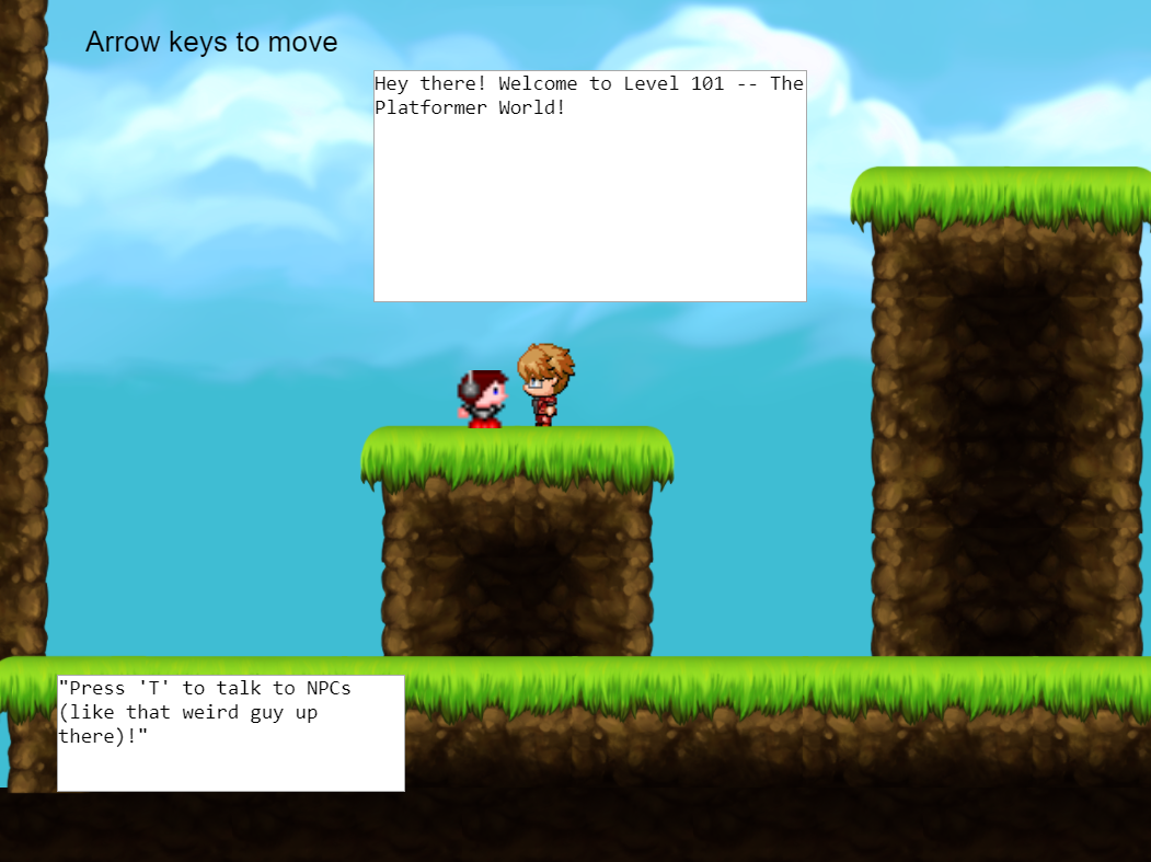 Two comic figures talking standing on a stup with text boxes explaining their speech with sky background, Mario Bros video game style