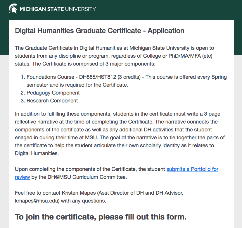 Screenshot of Certificate Application form homepage