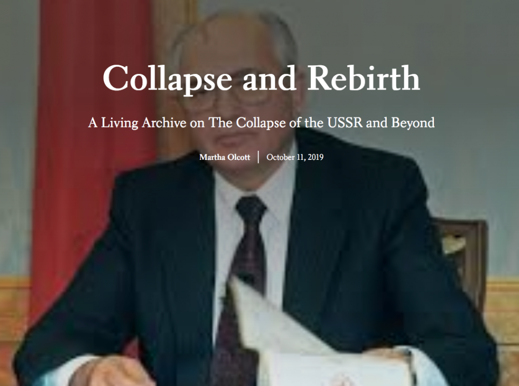 Landing page of storymap with title and image of Gorbachev signing a document