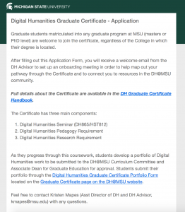 Screenshot of Certificate Application  homepage