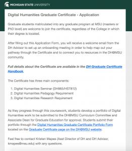 Screenshot of Certificate Application  homepage