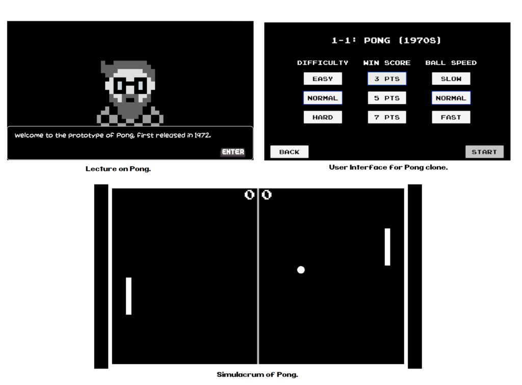 """Three black and white pixelated screens, the first one says """"welcome to the prototype of Pong, first released in 1972. The second screen has the menu options for Pong, and the third screen is a game of Pong in progress."""