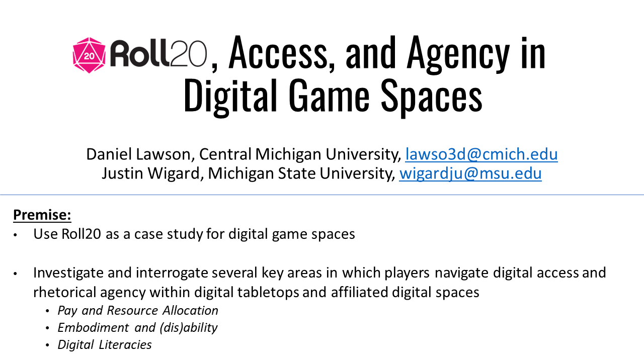 A white slide with black text describing a digital humanities project studying digital tabletops as sites of access and agency. The slide further describes the premise and purpose of the investigation.